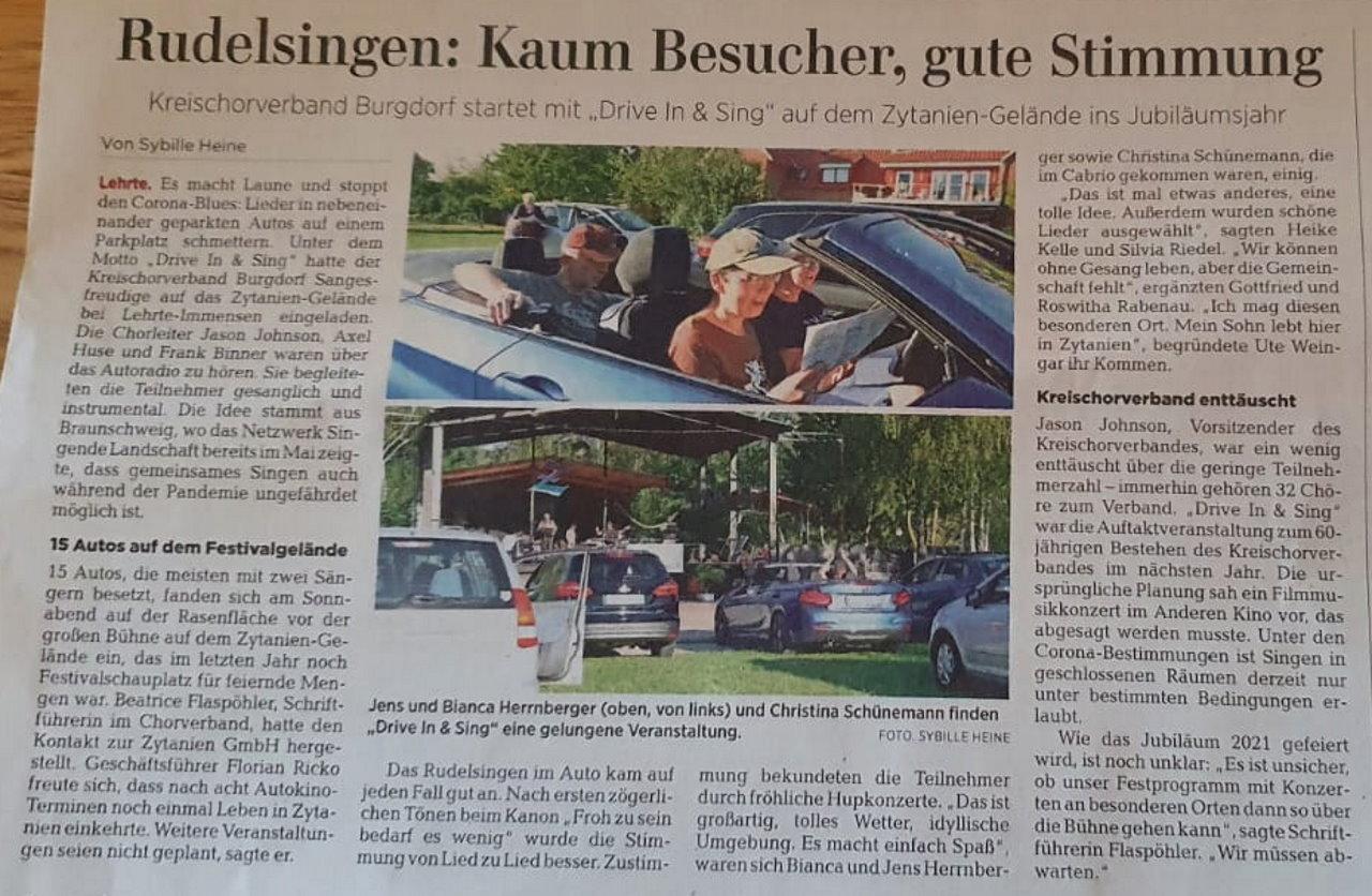 Zeitungsartikel Drive In & Sing in Lehrte